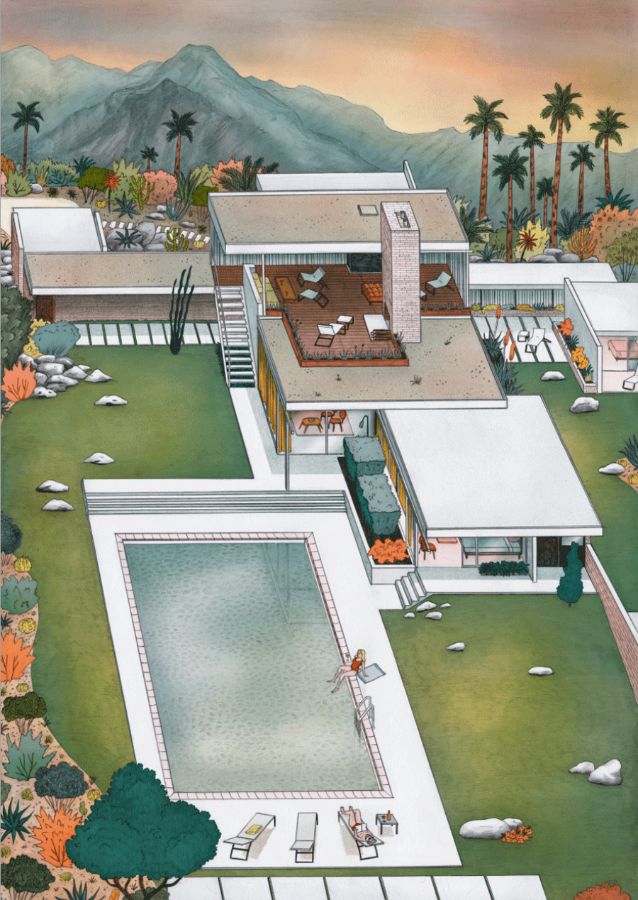 Architecture Interior Illustration Desert Kaufmann House Neutra Josephin Ritschel